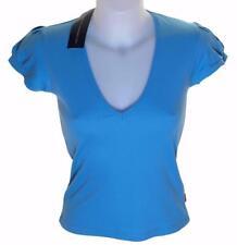 BNWT WOMENS FCUK DESIGNER FRENCH CONNECTION V NECK T SHIRT TOP MEDIUM BLUE