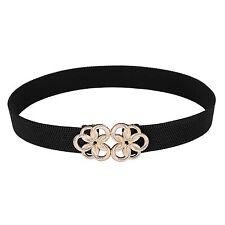 Women Narrow Elastic Stretch Waist Belt Metal Buckle Fashion Waistband Strap