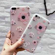 For iPhone 8 X 7 Plus 6s 5 Cute Relief Flower Clear TPU Soft Silicone Case Cover