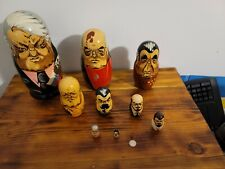 Vtg Past Russian Soviet Political Leaders Nesting Doll Hand Painted 10pc Signed.