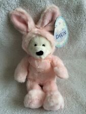 Plush White Teddy Bear w/Pink Colored Bunny Suit Made by Dakin w/Tags Attached!