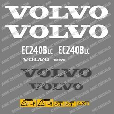VOLVO EC240BLC DIGGER DECAL STICKER SET WITH SAFETY WARNING DECALS