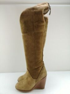 UGG Ladies Women Tan Leather Over Knee High Heel Wedge Shoe Boot Size 5 38