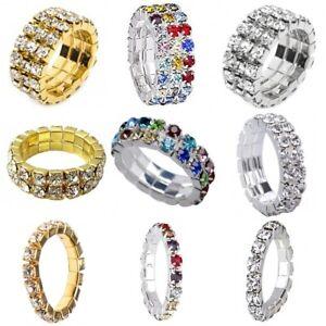 Silver Gold Diamante Crystal Stretch Elastic Toe Thumb Finger Ring 1 2 3 Row UK