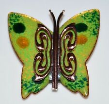 VTG MATISSE RENOIR Signed Green Enamel Copper Butterfly Brooch Pin