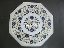 12'' White Marble Coffee Table Top Lapis Pauashell Inlay Christmas Kitchen Decor