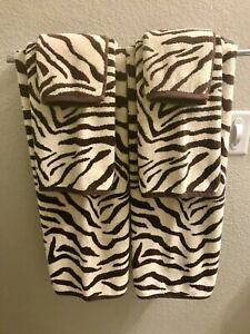 Vintage 2000s Pottery Barn Zebra Print Towels