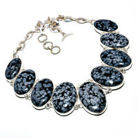 Snowflake Obsidian Gemstone 925 Stamped Ethnic Necklace Jewelry 18 8176