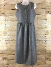Vtg JG Hook Flannel Wool Dress Women Size 6 Houndstooth Gold Buttons Pleated 80s