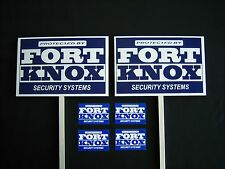 2 Fort Knox Security Signs + 4 Decals - 2 Stakes .#Ps-411