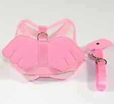 New Nylon Dog Harness Set Angel wings Harness w Matching Lead Leash - Pink Small