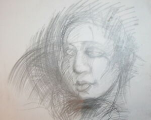 Abstract woman portrait pencil drawing