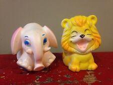 2 Vintage 1960's - 70's Rubber Squeak Toys,Baby Joy Lion,Sani Toy Elephant Lot