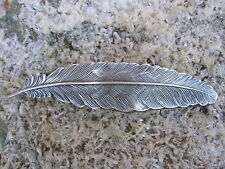 Feather Design Silver Plated Finish French Clip Hair Barrette 80mm Clip NEW USA