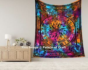 Indian Cycle Of The Age Tie Dye Cotton Bed Cover Queen Wall Hanging Tapestry