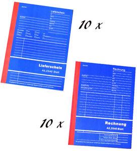5x 10x Rechnungsblock Lieferscheinblock Kassenblock Quittungsblock Vordruck