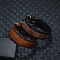 Simple Unisex Men Punk Leather Surfer Clasp Cuff Wristband Bracelet Bangle Wrap