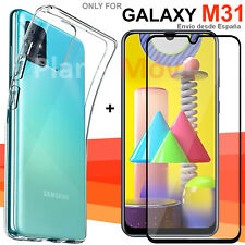 Samsung Galaxy M31 Protector full cristal vidrio 3D completo + funda reforzada