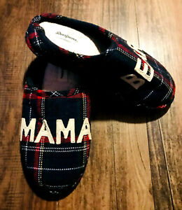 Dearfoams Mama Bear Red and Blue Buffalo Plaid Clog Slippers