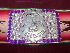 Cowgirl Western Rodeo~ONE OF A KIND~Pony Express Badge Rhinestone Belt Buckle
