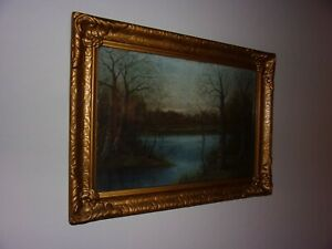 William Henry Chandler Signed Framed Pastel Painting Fall Autumn River Lake