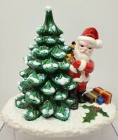 Vintage Hand Painted Ceramic Santa Standing Next to Christmas Tree