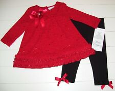 RED SWEATER BLACK FLORAL DRESS w RARE EDITIONS NEW GIRLS RED