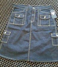 black denim A-Line skirt