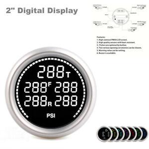 "2"" Digital Display Car Batteries Temp Pneumatic Shock Absorber Barometer 1/8NPT"