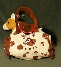Playmaker Toys I Love My Horse Sewn Print Small Animal Carrier Plush Stuffed EUC