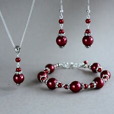 Wine red silver pearls necklace bracelet earrings wedding bridal jewellery set