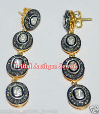 Look Wedding 925 Silver Dangle/Earring 1.64ct Rose/Antique Cut Diamond Victorian