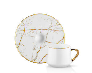 Koleksiyon White marble ( Coffee Cups ) cups & saucers ( 6 pcs ) set