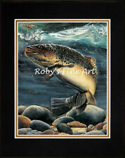 """Matted German Brown Trout Print 8x10 Mat """"Garretts Brown Trout"""" by Roby Baer PSA"""