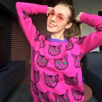 High Quality 2021 Cute Cat Print Knitted Pullover Long Sleeve Jumper