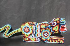 BIG MEXICAN HUICHOL JAGUAR ANIMAL FIGURE SCUPLTURE ETHNIC NATIVE FOLK ART CRAFT