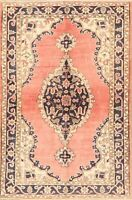 Excellent Vintage Geometric Anatolian Hand-Knotted Turkish Area Rug 4x6 Carpet