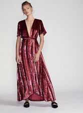 NWT Free People red wine Velvet Metallic Striped Wrap Maxi Swingy Dress S