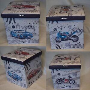 Classic Cars Folding Storage Ottoman Cubed Box Foot Stool Classic Car Lovers