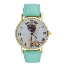 Lux Accessories Mint Pu Leather Bulldog Roman Numeral Animal Lover Watch