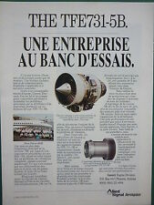 7/92 PUB ALLIED SIGNAL AEROSPACE GARRETT ENGINE TFE731-5B FALCON 900B FRENCH AD