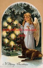 c1900s~Christmas Pretty Girl Angel~Tree~Deer ~Candles New Lg Note Cards