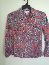 Charter Club Multi color 100% Linen Floral Button Front Shirt Size 8P