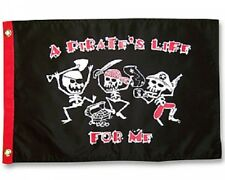 "A PIRATE'S LIFE FOR ME BOAT FLAG 12X18"" NEW PIRATE BOAT FLAG JOLLY ROGER"