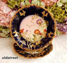 2 Gorgeous Limoges Porcelain Plates ~ Cobalt ~ Gold Encrusted