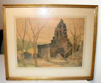 antique 19th century original eerie cemetery landscape watercolor painting