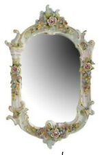 Mirror, Porcelain Framed, German Dresden Style, With Applied Flowers, Gorgeous!