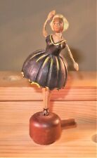Vintage Barware  Hand Carved Wood Mechanical Bottle Stopper - Dancer