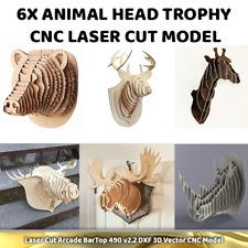 CNC Vector DXF Plasma Router Laser Cut CDR Vector Files - 6x Animal Head Trophy