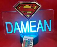 Superman Light Up Night Light Superhero Table Lamp LED Personalized With Remote